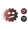 disappearing dot halftone angry smiley gear icon vector image