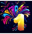 Fireworks Happy Birthday with a gold number 1 vector image vector image