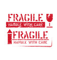fragile handle with care arrow up grungy vector image vector image