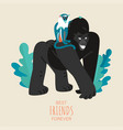 friendship day card with funny gorilla and monkey vector image vector image