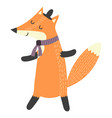 funny walking fox in hat isolated element vector image vector image