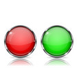 glass buttons red and green round 3d buttons with vector image vector image
