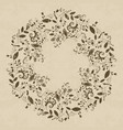 grunge textured floral frame in doodle style vector image
