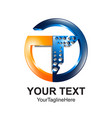 initial letter t logo template colored orange vector image