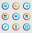 interface icons colored set with link send vector image