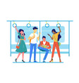 international people go to subway underground vector image