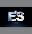 metal blue alphabet letter es e s logo company vector image vector image