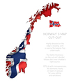 Norway Map Cut Out with Waving Flag vector image vector image