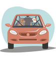 old senior man driving car her dog sitting near vector image vector image