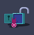 padlock with bug privacy data vector image vector image