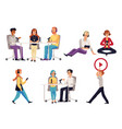 podcasting and broadcasting set characters flat vector image