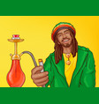 rastafarian man smoking hookah pop art vector image vector image