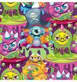 seamless pattern cartoon virus vector image