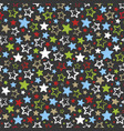 Seamless pattern with multicolored stars on dark