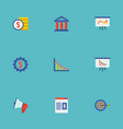 set of financial icons flat style symbols with web vector image vector image
