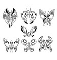 set of hand drawn cartoon butterfly like vector image