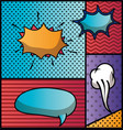 set of speech bubbles and expressions pop art vector image