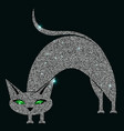 silver cat with green eyes vector image vector image