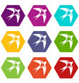swallow icons set 9 vector image vector image