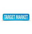 Target market blue 3d realistic square isolated vector image vector image