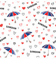 travel london seamless pattern with love hearts vector image vector image