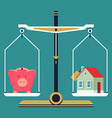 Weight Scales with a Piggy Bank and House vector image vector image