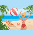 woman play with beach ball and tanning chair with vector image vector image
