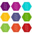 wooden door icons set 9 vector image vector image