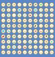 100 traffic icons set cartoon vector image vector image