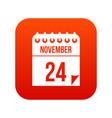24 november calendar icon digital red vector image vector image