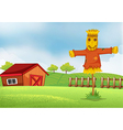A farm with a barn and a scarecrow vector image
