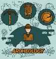 archeology flat concept icons vector image