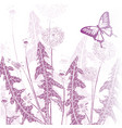 background vintage butterfly with flowers vector image vector image