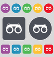 binoculars icon sign A set of 12 colored buttons vector image vector image