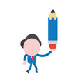 businessman character walking and holding pencil vector image vector image