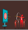 businessmen aiming target by bow and arrow vector image vector image