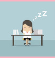 businesswoman sleeping at works flat design vector image vector image