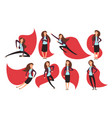 cartoon businesswoman superhero in red cloak vector image vector image