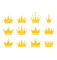crowns for king queen princess and prince gold vector image