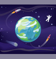 earth and spaceman poster vector image vector image
