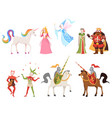 fairy tales characters wizard knight queen king vector image vector image