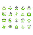 garden simple color flat icons set vector image vector image