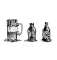 glass beer mug and beer bottle objects vector image