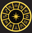golden zodiac symbols circle vector image