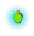 Green cosmetic bottle icon comics style vector image vector image