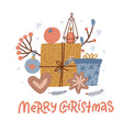 handdrawn flat christmas greeting card design vector image