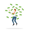 happy businessman jumps under money rain vector image