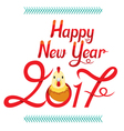 Happy New Year Lettering Decoration With Rooster vector image