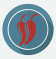 icon hot chili pepper on white circle with a long vector image