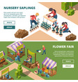 local markets isometric farmers and gardeners vector image